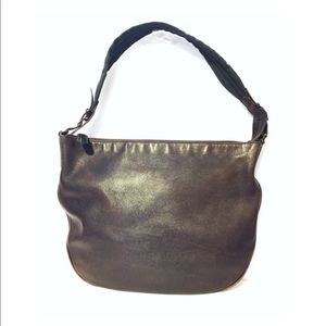 Gucci brown leather w/ green accent strap hobo bag